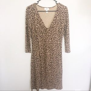 LOFT VNeck Longsleeve Cheetah print dress size 4